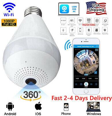 HD 1080P 360° Panoramic Hidden Wi-Fi Camera Light Bulb Dome Surveillance Camera