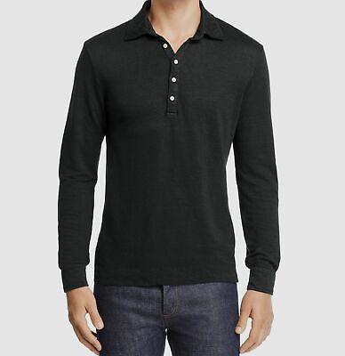 NWT $849 Massimo Alba Men's Gray Long-Sleeve Linen Italy Knit Polo Shirt Size XL