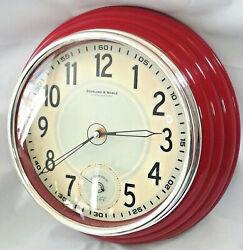 Diner~Sterling & Nobel~Wall Clock Red 11 2nd Hand Dial Beveled-Tested/Works