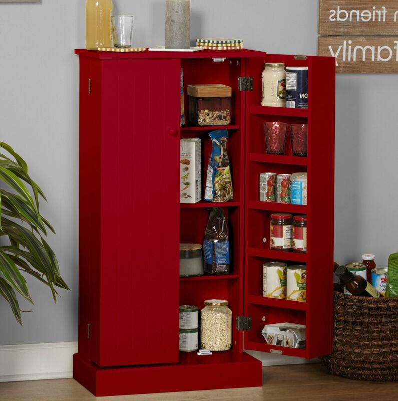 Pine Country Style Utility Kitchen Pantry Storage Cabinet 3.4 Ft Tall - in Red