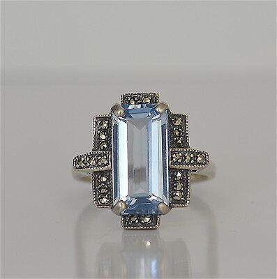 Ring Silber 925 aquamarinfarbener Stein Markasiten art deco-Stil