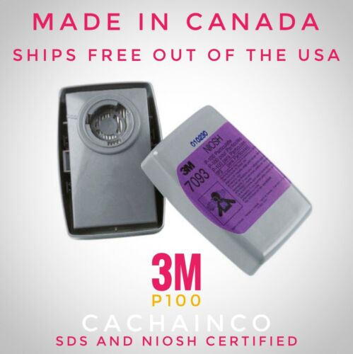 3M 7093 Filter, PlOO Replacement Filters 1 Pair, Made in Canada, SDS Certified
