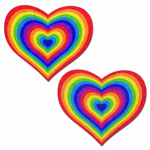 Pastease Rainbow Pumping Heart One Love Velvet Pasties Nipple Covers