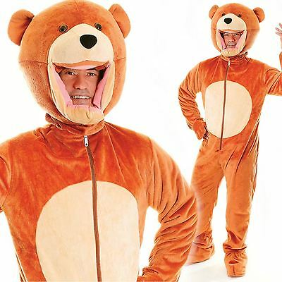 Adult Big Head Teddy Bear Fancy Dress Mascot Costume Grizzly Animal - Grizzly Bear Costumes