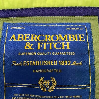 NEW Abercrombie And Fitch Men's Handcrafted Olive Green Puffer Down Vest