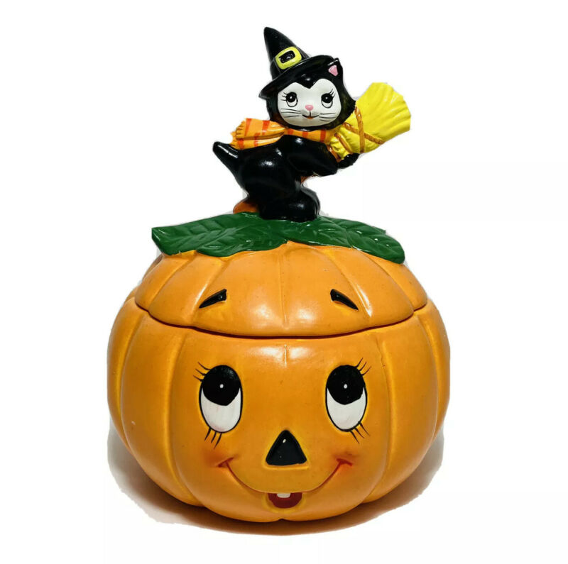 Lefton Korea Smiling Pumpkin Black Cat Witch Cute Marked 1986 Dish Lid Halloween