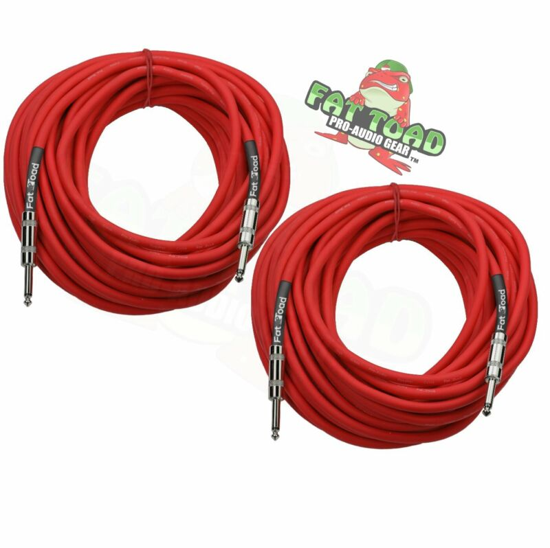 DJ Speaker Cables 50ft Cords ¼ Male Jack FAT TOAD PA Audio Stage Studio TS Wires