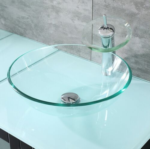 Round Tempered Glass Bathroom Vessel Sink Bowl Waterfull Faucet Drain Combo Set