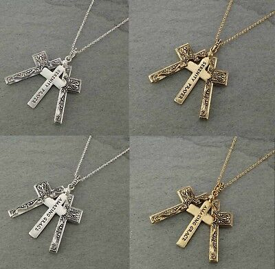Long Cross Locket Serenity Prayer or Amazing Grace Message Necklace- Choose