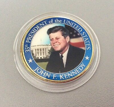 John F. Kennedy Commemorative Half-Dollar Liberty gold plated coin in capsule