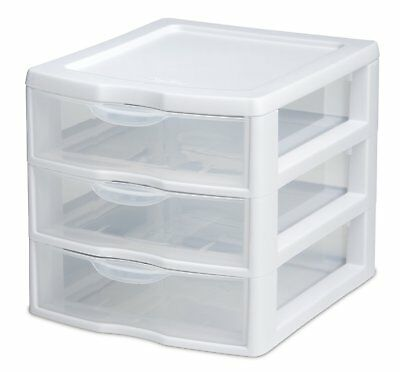 (Sterilite Mini Drawer Organizer 3 Storage Unit Clear Plastic)