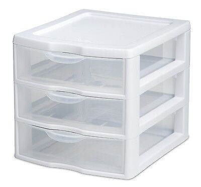 Sterilite Stackable Mini 3-drawer Storage Organizers White Frame Clear Drawer