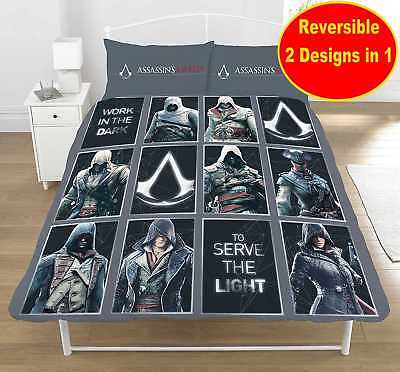 ASSASSINS CREED GAME DOUBLE DUVET QUILT COVER SET BOYS FANS KIDS CHILDRENS BED