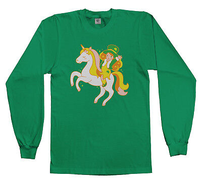 Leprechaun Girl Riding Unicorn Youth Long Sleeve T-Shirt St Patricks - Girl Leprechaun
