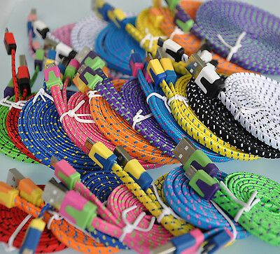 Flat  Braided Noodle Fabric Micro USB Sync Charger Cable iphone 4 5 galaxy s3 s4