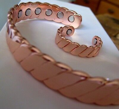 Solid Copper Magnetic Bracelet + Ring Set Chunky Arthritis Men Women 12 m Cuff