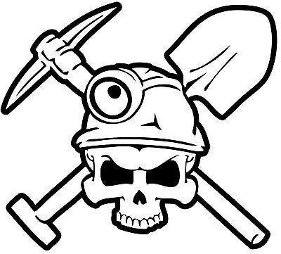Coal Miner Skull Hard Hat Sticker Toolbox Sticker