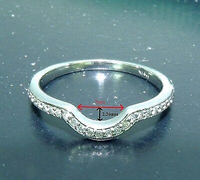 - Diamond Wedding Band Ring Guard 0.22 Ct Round Cut 14K White Gold  Anniversary