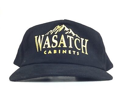 NWT Wasatch Cabinets Black Baseball Cap Hat Adj Men's Sz Cotton Mount Range Logo for sale  Shipping to India