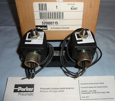 Parker 520000115 Electric Solenoid Valve 4-way 2 Pos 120 Vac 60 Hz New