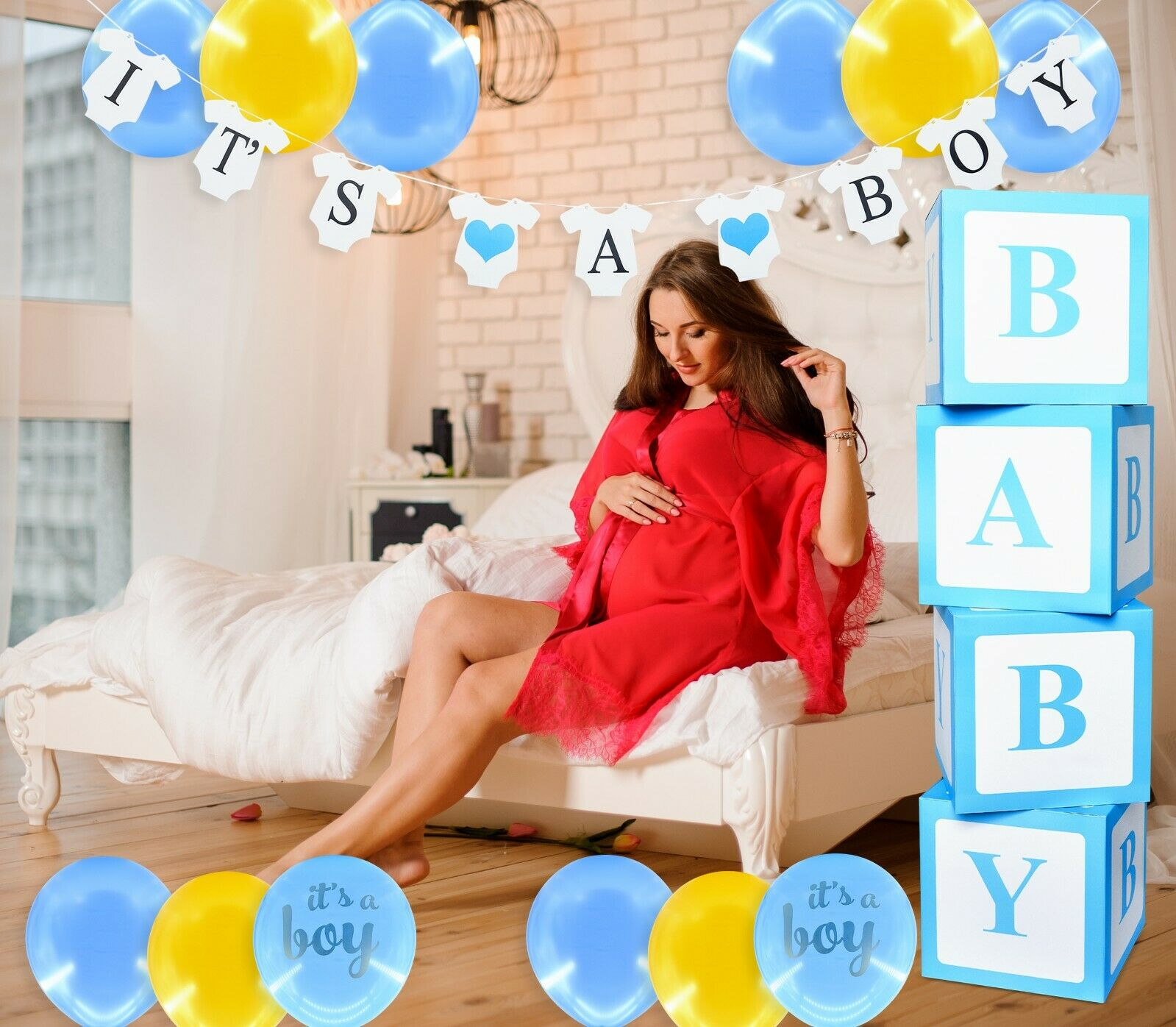 It's a Boy Baby Shower Decoration Blue for Boy Its a Boy Decoration Elegant Greeting Cards & Party Supply