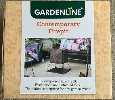 Gardenline Fire Pit Basket Patio Heater Log Wood Burner Fireplace Black - NIB