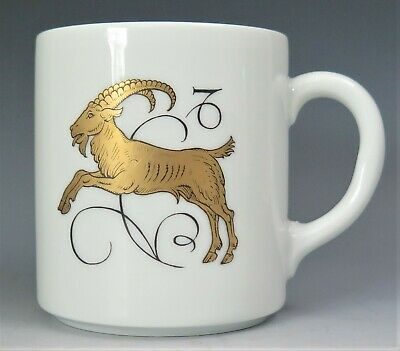 *CAPRICORN* PORCELAIN 100 JAHRE BAREUTHER GERMANY ZODIAC COFFEE MUG GOLD WHITE Capricorn Zodiac Mug