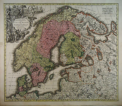 1720 Genuine Antique hand colored map of Scandinavia.  by G.M. Seutter