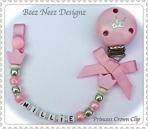 ❤ PERSONALISED Your Name Choice ❤ DUMMY CLIP ❤ PINK  PRINCESS CROWN CLIP ❤