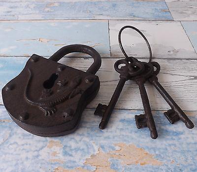 Rustikale Vintage Stil Große Working Gusseisen Vorhängeschloss & 3 Schlüssel ()