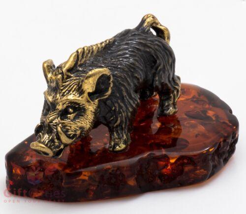Solid Brass Amber Figurine of wild Boar Razorback pig Hog Swine IronWork