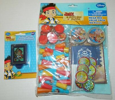 JAKE & the NEVERLAND PIRATE Birthday Party Favors 48-pc MEGA PACK + CAKE CANDLE - Jake The Pirate Birthday Party