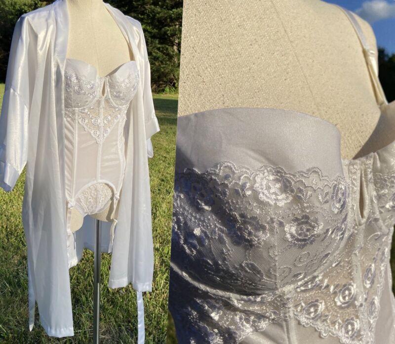 Vtg Corset 3pc Set Garters MerryWidow 38C & Satin Robe Set White Lace 7 L Panty