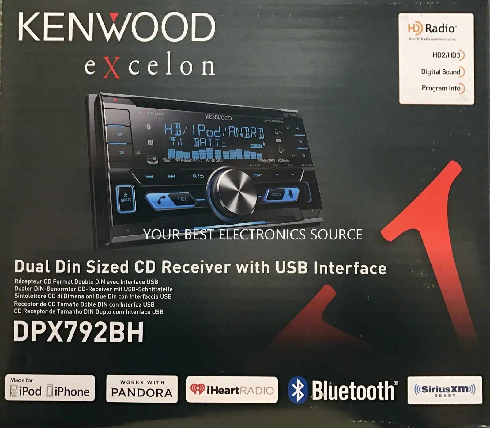 $209.00 - NEW KENWOOD DPX792BH Double-DIN Car Stereo w/ Built-in HD Radio & Bluetooth