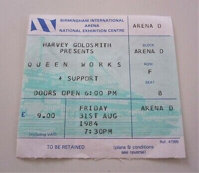QUEEN : 1984 Works Tour Birmingham UK Concert Ticket Stub Freddie Mercury