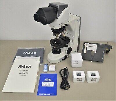 New Nikon Eclipse 50i Microscope W Nikon Plan 4x 10x 40x 100x Objectives Case
