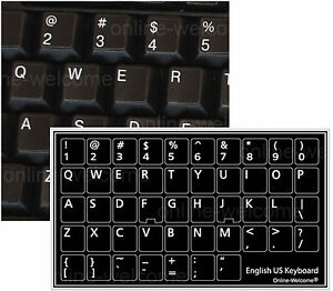 ENGLISH US KEYBOARD STICKER FOR COMPUTER LAPTOP BLACK NON TRANSPARENT BACKGROUND