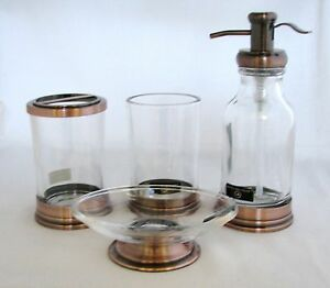 HOTEL BALFOUR 4PC SET CLEAR GLASS BROWN SOAP DISPENSER DISH TOOTHBRUSH TUMBLE