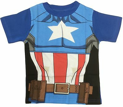 Marvel Avengers Captain America Fancy Dress up Costume Kids T Shirts - Cool! (Avengers Dress Up)