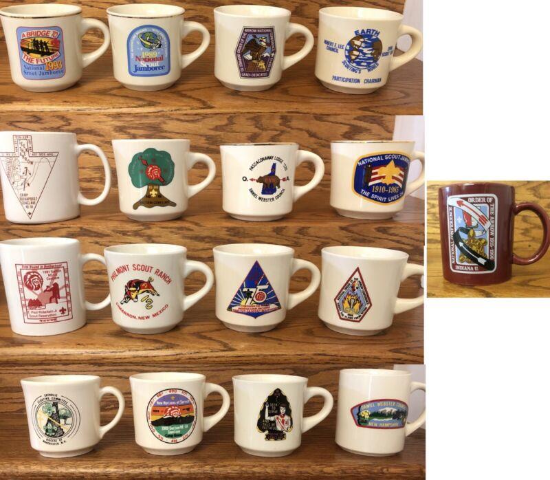 Vintage Boy Scouts of America Mugs Lot of 17 Philmont Jamboree Robert E Lee