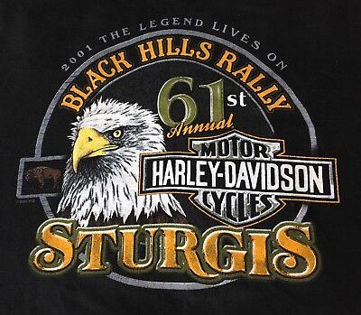 HARLEY DAVIDSON-Blackhills 61st Sturgess rally, 2001 commemorative T-shirt. XL