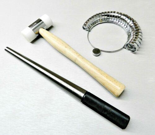 Steel Ring Mandrel Nylon Hammer Finger Sizer Gauge Wide Band Jewelry Tool Set