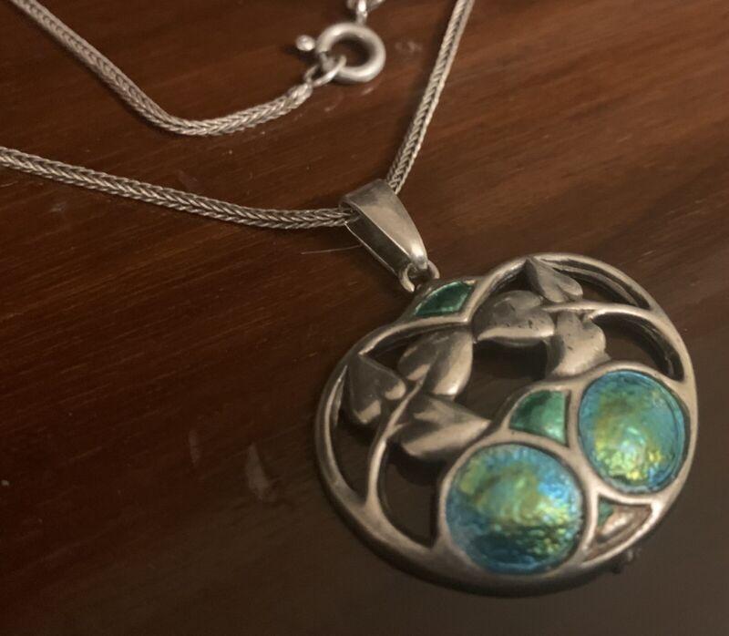 Art Nouveau Charles Horner Enamel Sterling Silver Pendant Chester 1909 & Chain