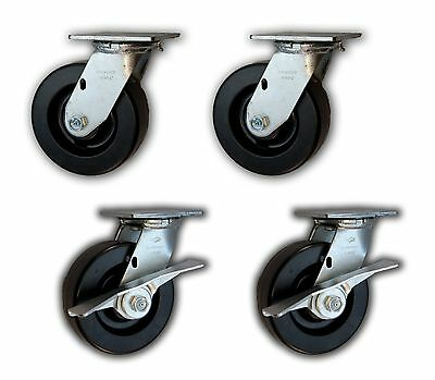 6 X 2 Heavy Duty Swivel Casters W Phenolic Wheels 4800 4 Pk 2 With Brakes