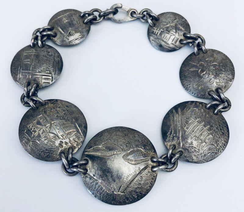 Vintage Oriental China Sterling Silver Etched Picture Design Link Bracelet