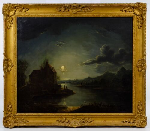 Sebastian Pether-Beautiful Moonlit Nocturne Painting w/Gilt Frame-Early 19thC