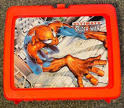 Red New Marvel 2001 Ultimate Spiderman Lunch Box and Thermos