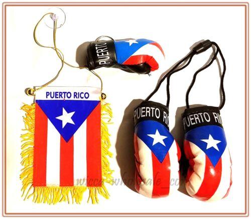 Lot of 3 Puerto Rico Souvenir Boricua Rican MINI FLAG - KEYCHAIN - BOXING GLOVES