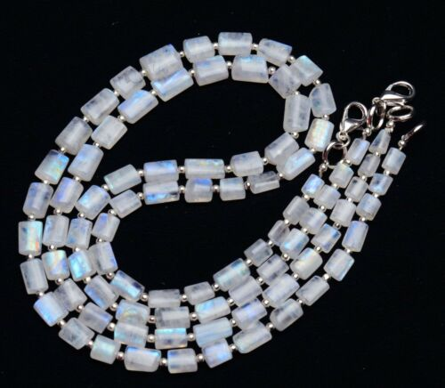 """Blue Fire Natural Moonstone Smooth Nugget Beads Necklace 17"""" 88Cts."""