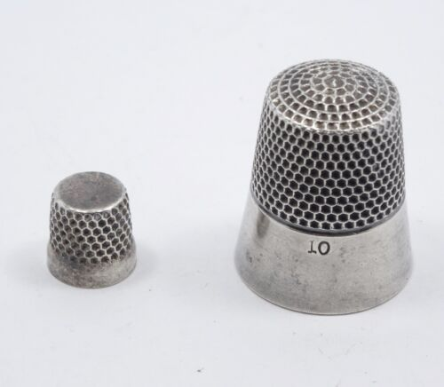 PAIR of ANTIQUE VICTORIAN STERLING THIMBLE SIZE 10 and MINIATURE 9 mm